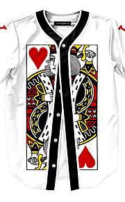 Hombre Activo Estampado Camiseta, Escote Redondo Geométrico Blanco XL / Manga Corta / Verano