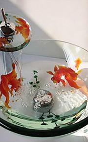 Lavandino bagno Rubinetto per bagno Anello di montaggio per bagno Moderno - Vetro temperato Tondo
