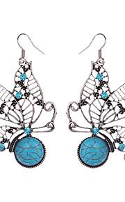 Dame Pige 1 Dråbeøreringe Vintage Bohemisk Rhinsten Sølvbelagt Legering Dyr Smykker Blå Daglig Afslappet Kostume smykker