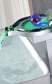 Wastafel kraan - Waterherfst / LED Chroom Middenset Single Handle Een Hole / Messing