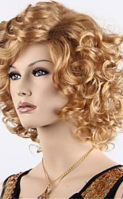 Syntetiske parykker Krøllet Med lugg tetthet Lokkløs Dame Blond Karneval Parykk Halloween parykk Naturlig parykk Kort Syntetisk hår