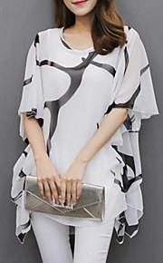 Mujer Tallas Grandes Plisado / Estampado Blusa Corte Ancho Manga Murciélago Blanco y Negro
