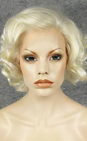 Syntetisk blonder foran parykker Krøllet Side del Naturlig hårlinje Blond Dame Blonde Forside Karneval Parykk Halloween parykk