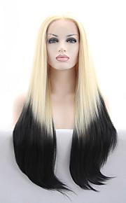 Syntetisk blonder foran parykker Rett Blond Blonde Forside Karneval Parykk Halloween parykk Naturlig parykk Syntetisk hår