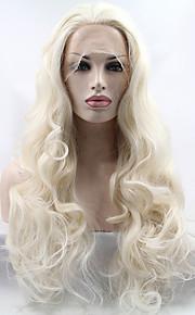 Syntetisk blonder foran parykker Bølget Midtskill Naturlig hårlinje Blond Dame Blonde Forside Naturlig parykk Lang Syntetisk hår