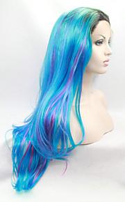 Syntetisk blonder foran parykker Naturlige bølger Dame Blonde Forside Naturlig parykk Syntetisk hår