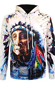Муж. Богемный Длинный рукав Толстовка - 3D / Портрет, С принтом Круглый вырез / Осень