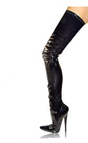 Naisten Bootsit Sexy Bootsit Stilettikorko Terävä kärkinen Vetoketjuilla PU Reisi-korkea Saappaat Muotisaappaat / Nilkkuri Talvi Musta / Punainen / Juhlat