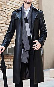 Men's Vintage Long Fur Coat-Solid Colored
