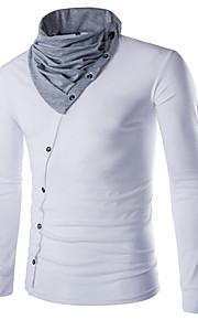 Hombre Deportes Algodón Camiseta, Escote Redondo Un Color / Bloques Negro L / Manga Larga / Primavera / Otoño