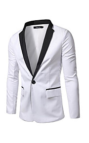 בגדי ריקוד גברים לבן שחור L XL XXL בלייזר סגנון רחוב קולור בלוק רזה / שרוול ארוך / אביב / סתיו