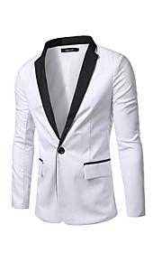 Hombre Diario / Fin de semana Chic de Calle Primavera / Otoño Regular Blazer, Bloques Manga Larga Algodón Blanco / Negro L / XL / XXL / Delgado