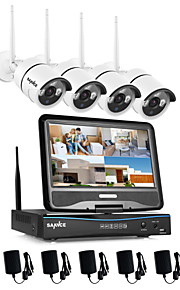 sannce® 2.4G 10.1 lcd 4-kanals HD trådløs 720p wifi NVR 1500tvl i / udendørs IR cut ip kamera sikkerhedssystem