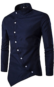 Men's Chinoiserie Cotton Slim Shirt - Solid Colored Basic Standing Collar Black L / Long Sleeve / Spring / Fall