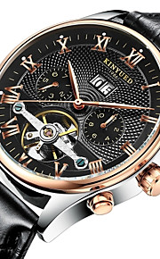 KINYUED 남성용 스켈레톤 시계 손목 시계 기계식 시계 오토메틱 셀프-윈딩 가죽 브라운 30 m 방수 달력 크로노그래프 아날로그 사치 클래식 캐쥬얼 드레스 시계 - 화이트 블랙