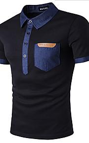 男性用 Polo シャツカラー スリム パッチワーク コットン / 半袖