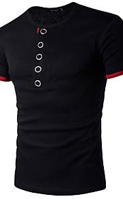 Hombre Deportes Estampado - Algodón Camiseta, Escote Redondo Un Color Bloques