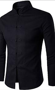 Hombre Tejido Oriental Básico - Algodón Camisa, Cuello Mao Delgado Un Color Blanco L / Manga Larga / Primavera / Otoño