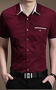 رجالي قطن قميص ياقة كلاسيكية - الأعمال التجارية لون سادة, عمل أزرق فاتح XXL / كم قصير / الصيف
