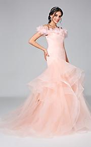 Trompette / Sirène Epaules Dénudées Traîne Tribunal Tulle Robes de mariée personnalisées avec Volants Fleur Ruché par LAN TING BRIDE®
