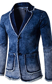Men's Daily Street chic Spring / Summer / Fall Regular Blazer, Solid Colored Shirt Collar Long Sleeve Cotton / Polyester Tassel Blue L / XL / XXL / Slim