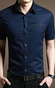 رجالي قطن قميص الأعمال التجارية لون سادة, عمل أزرق البحرية XXL / كم قصير / الصيف