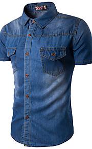 رجالي قطن قميص نحيل فتحة لون سادة أزرق XXXL / كم قصير / الصيف