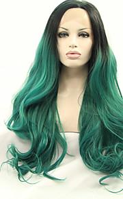 Syntetisk blonder foran parykker Naturlige bølger Grønn Dame Blonde Forside Naturlig parykk Syntetisk hår