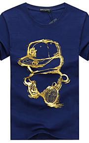 Hombre Básico Deportes Tallas Grandes Estampado - Algodón Camiseta, Escote Redondo Delgado Geométrico Negro XXXL / Manga Corta / Verano