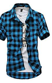 رجالي قطن قميص نحيل ياقة كلاسيكية - كاجوال منقوش, شاطئ أحمر L / كم قصير / الصيف