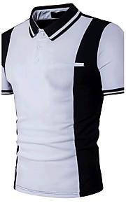 男性用 パッチワーク Polo 活発的 シャツカラー スリム カラーブロック コットン ブラック&ホワイト / 半袖