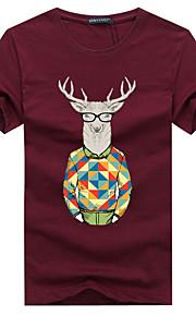 Hombre Básico Deportes Tallas Grandes Estampado - Algodón Camiseta, Escote Redondo Gráfico Gris XXXL / Manga Corta / Verano