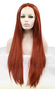 Syntetisk blonder foran parykker Rett Varme resistent Naturlig hårlinje Rød Dame Blonde Forside Karneval Parykk Halloween parykk Naturlig