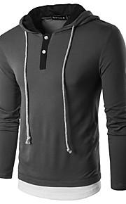 男性用 Polo ストリートファッション フード付き カラーブロック / 長袖