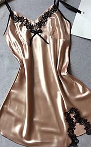 Women's Satin & Silk Nightwear Patchwork - Thin Polyester Gold White Blushing Pink Purple Fuchsia