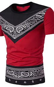 男性用 スポーツ Tシャツ ストリートファッション ラウンドネック スリム 幾何学模様 / ペーズリー コットン ブラック & レッド / 半袖