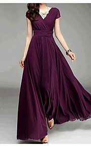 Women's Sophisticated Dress - Solid Colored Maxi V Neck