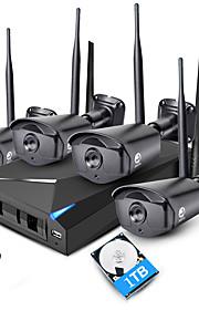Jooan® 4ch 960p trådløs nvr sikkerhedssystem kit 4 * 1.3mp udendørs ir nattesyn wifi ip kamera cctv med 1tb hdd
