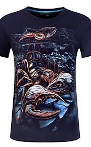男性用 プリント プラスサイズ Tシャツ ラウンドネック 動物 コットン / 半袖