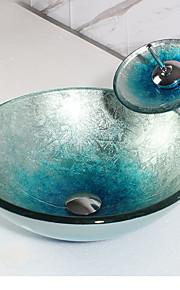 Moderno Tondo Materiale del dissipatore è Vetro Lavandino bagno Rubinetto per bagno Anello di montaggio per bagno Scarico acqua per bagno