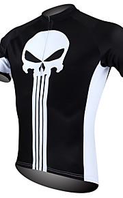 ILPALADINO Homme Manches Courtes Maillot de Cyclisme - Noir / Blanc Crânes Vélo Maillot, Séchage rapide, Résistant aux ultraviolets,