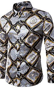 Majica Muškarci - Luksuz / Vintage Party / Klub / Vikend Geometrijski oblici Slim, Print Pink L / Dugih rukava / Proljeće / Jesen