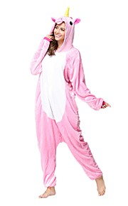 어른' 올인원 캐릭터 파자마 Unicorn 조랑말 점프수트 파자마 플란넬양털 핑크 코스프레 에 대한 남자와 여자 동물 잠옷 만화 페스티발 / 홀리데이 의상
