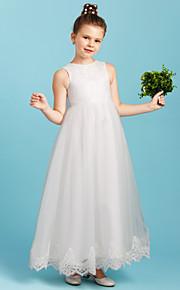 Принцесса До щиколотки Детское праздничное платье - Кружева Тюль Без рукавов Вырез под горло с Бант(ы) от LAN TING BRIDE®