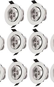 10pcs 3W 300lm 3 LEDs Εύκολη Εγκατάσταση Χωνευτό Φωτιστικό Οροφής Θερμό Λευκό Ψυχρό Λευκό 85-265V Εμπορική Σαλόνι / Τραπεζαρία Σπίτι /