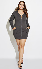 Women's Casual/Daily Plus Size Plus Size Dress,Solid Above Knee Long Sleeve Black / Gray Cotton Fall / Winter