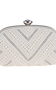 Women's Bags Polyester Evening Bag Crystal Detailing Pearl Detailing for Wedding Event/Party All Seasons White