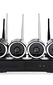 yanse® 4ch trådløs nvr kit 1.3mp vandtæt nattesyn sikkerhed ip kamera wifi overvågning cctv system