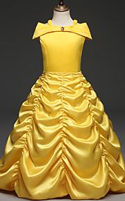 아동 여아 캐쥬얼 솔리드 짧은 소매 면 / 폴리에스테르 드레스 옐로우 / 귀여운