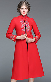 Γυναικεία Μακρύ Παλτό Καθημερινά Εξόδου Κινεζικό στυλ Χειμώνας Φθινόπωρο  Στάμπα Μαλλί Πολυεστέρας Spandex Ελαστίνη 1cf87755638